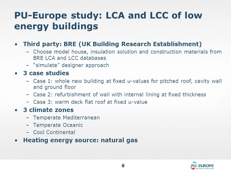 6 PU-Europe study: LCA and LCC of low energy buildings Third party: BRE (UK Building Research Establishment) –Choose model house, insulation solution and construction materials from BRE LCA and LCC databases – simulate designer approach 3 case studies –Case 1: whole new building at fixed u-values for pitched roof, cavity wall and ground floor –Case 2: refurbishment of wall with internal lining at fixed thickness –Case 3: warm deck flat roof at fixed u-value 3 climate zones –Temperate Mediterranean –Temperate Oceanic –Cool Continental Heating energy source: natural gas