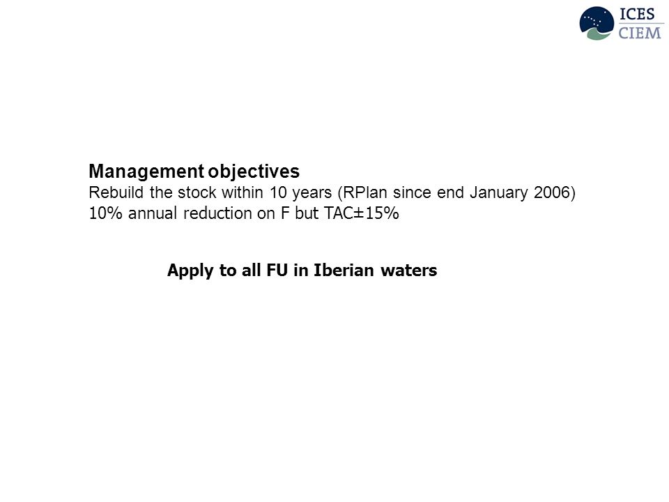 Management objectives Rebuild the stock within 10 years (RPlan since end January 2006) 10% annual reduction on F but TAC±15% Apply to all FU in Iberian waters