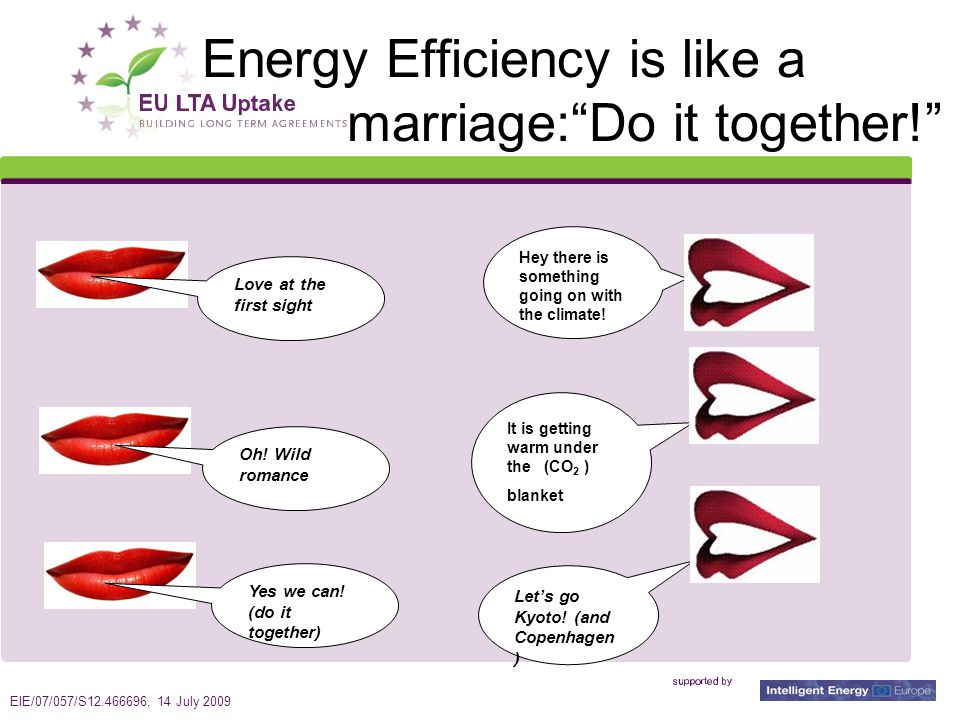 EIE/07/057/S12.466696, 14 July 2009 2 Energy Efficiency is like a marriage: Do it together! Love at the first sight Oh.