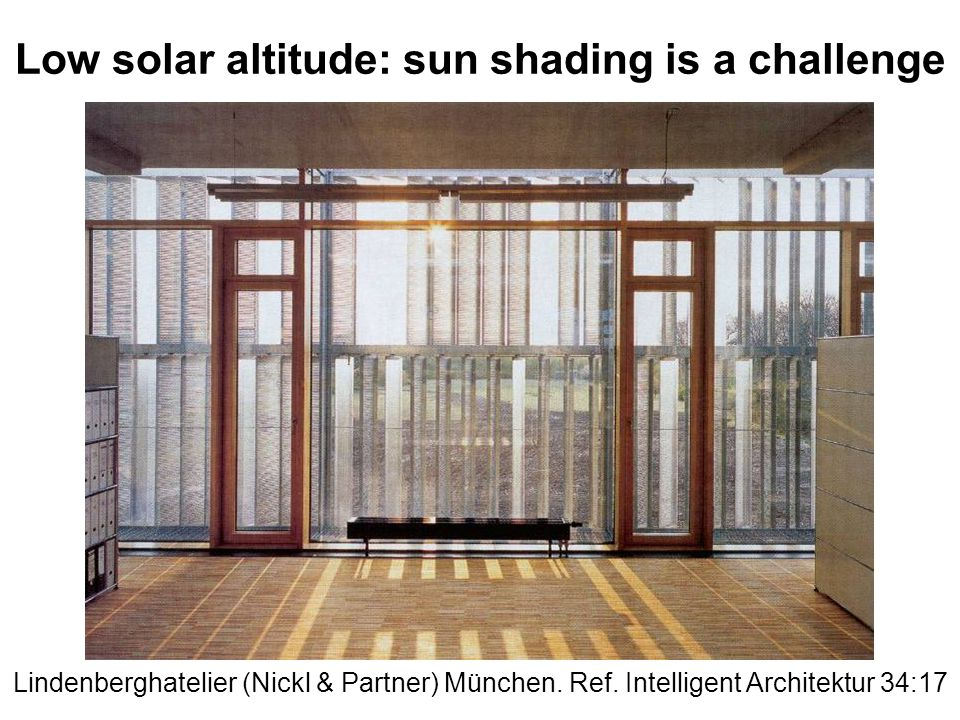 Low solar altitude: sun shading is a challenge Lindenberghatelier (Nickl & Partner) München.