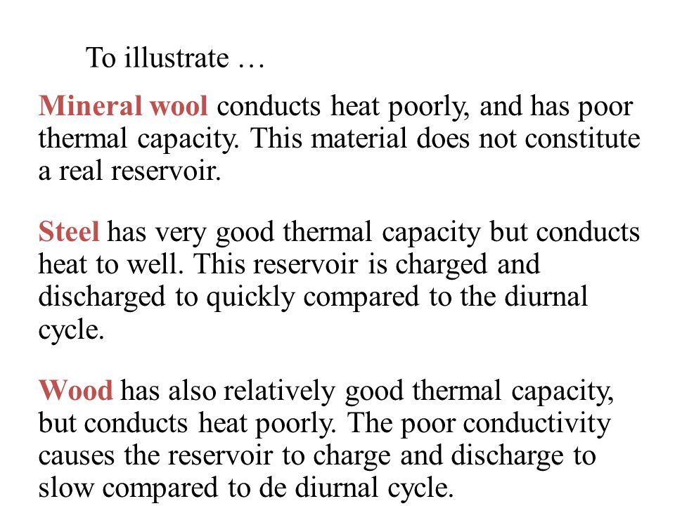 To illustrate … Mineral wool conducts heat poorly, and has poor thermal capacity.