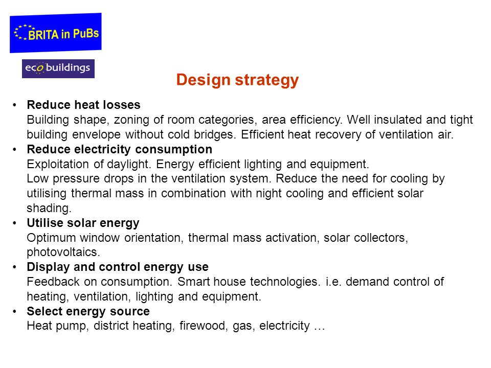 Reduce heat losses Building shape, zoning of room categories, area efficiency.