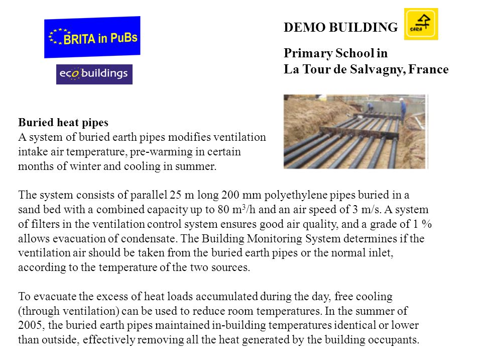 DEMO BUILDING Primary School in La Tour de Salvagny, France Buried heat pipes A system of buried earth pipes modifies ventilation intake air temperature, pre-warming in certain months of winter and cooling in summer.
