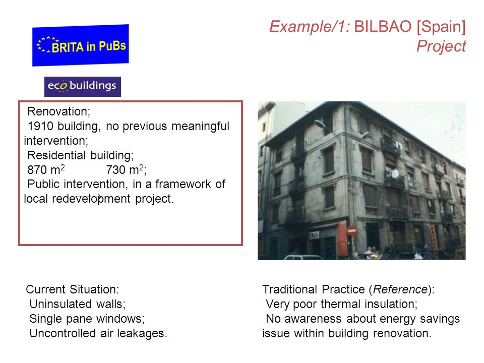 Example/1: BILBAO [Spain] Project Renovation; 1910 building, no previous meaningful intervention; Residential building; 870 m 2 730 m 2 ; Public intervention, in a framework of local redevelopment project.
