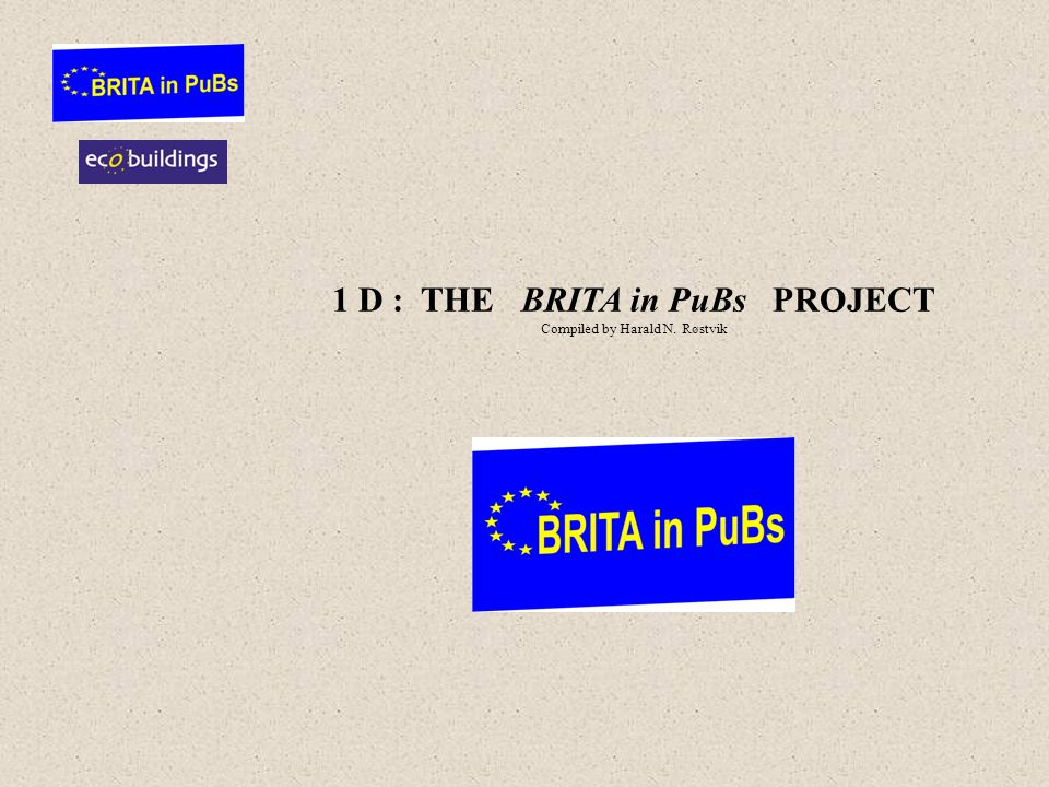1 D : THE BRITA in PuBs PROJECT Compiled by Harald N. Røstvik