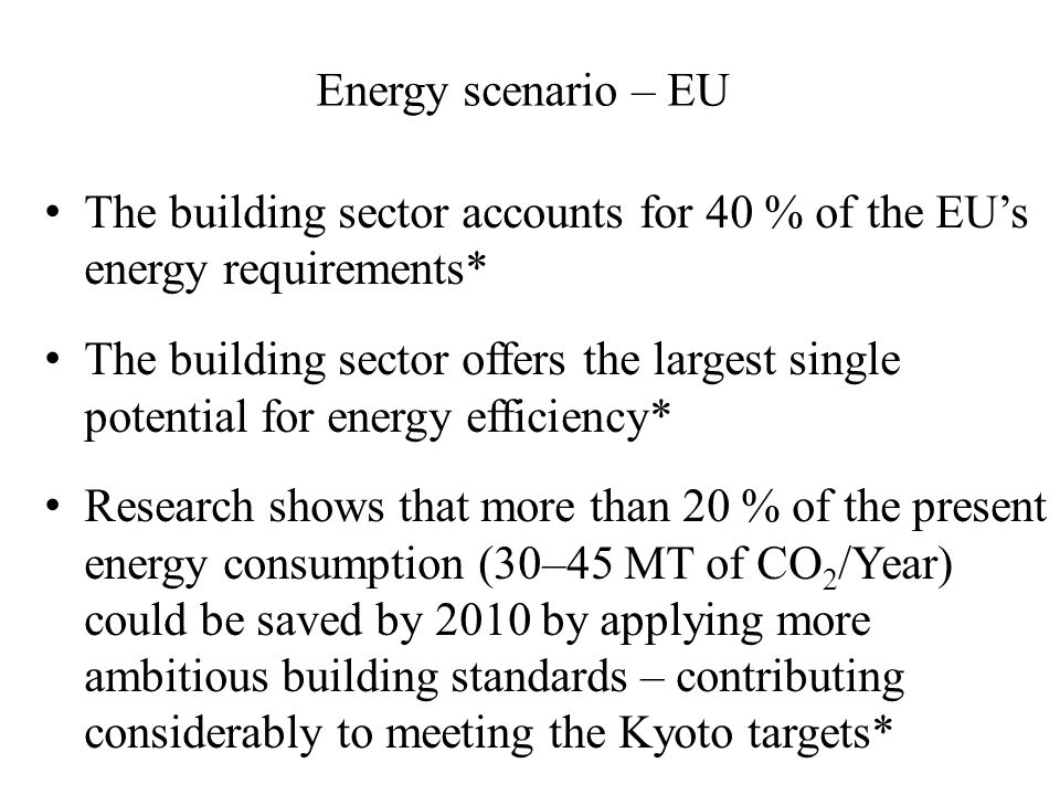 Energy scenario – EU The building sector accounts for 40 % of the EU's energy requirements* The building sector offers the largest single potential for energy efficiency* Research shows that more than 20 % of the present energy consumption (30–45 MT of CO 2 /Year) could be saved by 2010 by applying more ambitious building standards – contributing considerably to meeting the Kyoto targets*