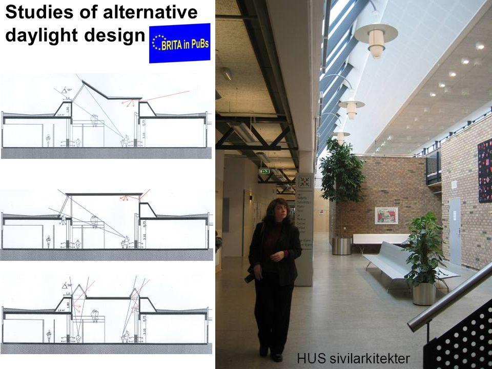 Studies of alternative daylight design HUS sivilarkitekter