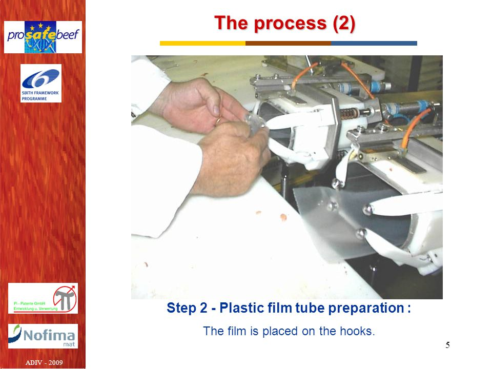 5 The process (2) Step 2 - Plastic film tube preparation : The film is placed on the hooks.