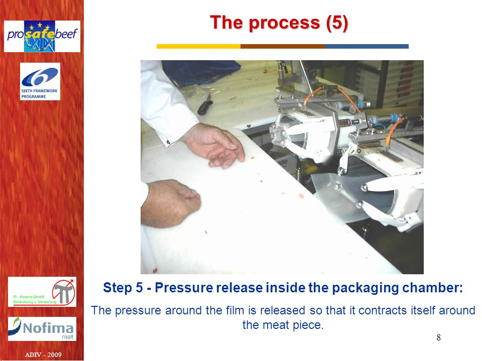 8 The process (5) Step 5 - Pressure release inside the packaging chamber: The pressure around the film is released so that it contracts itself around