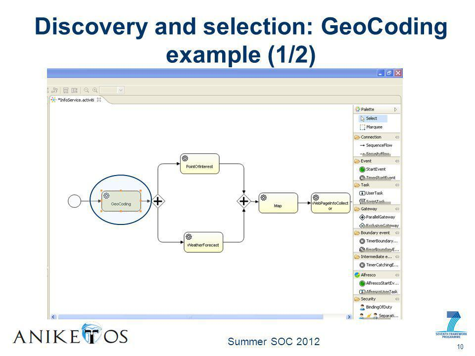 Summer SOC 2012 10 Discovery and selection: GeoCoding example (1/2)