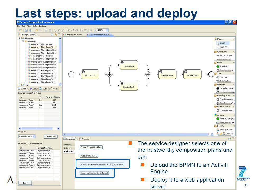 Summer SOC 2012 17 Last steps: upload and deploy The service designer selects one of the trustworthy composition plans and can Upload the BPMN to an Activiti Engine Deploy it to a web application server