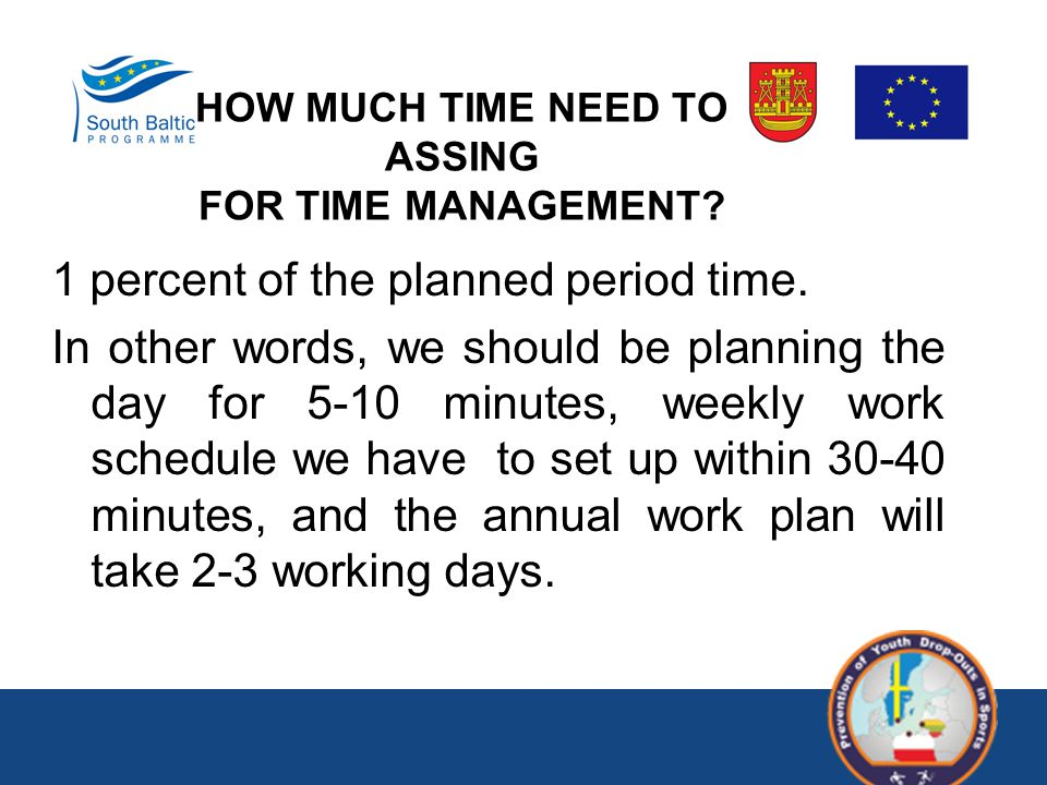1 percent of the planned period time. In other words, we should be planning the day for 5-10 minutes, weekly work schedule we have to set up within 30