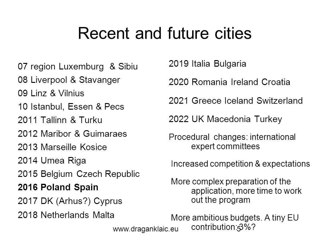 www.draganklaic.eu5 Recent and future cities 07 region Luxemburg & Sibiu 08 Liverpool & Stavanger 09 Linz & Vilnius 10 Istanbul, Essen & Pecs 2011 Tallinn & Turku 2012 Maribor & Guimaraes 2013 Marseille Kosice 2014 Umea Riga 2015 Belgium Czech Republic 2016 Poland Spain 2017 DK (Arhus ) Cyprus 2018 Netherlands Malta 2019 Italia Bulgaria 2020 Romania Ireland Croatia 2021 Greece Iceland Switzerland 2022 UK Macedonia Turkey Procedural changes: international expert committees Increased competition & expectations More complex preparation of the application, more time to work out the program More ambitious budgets.