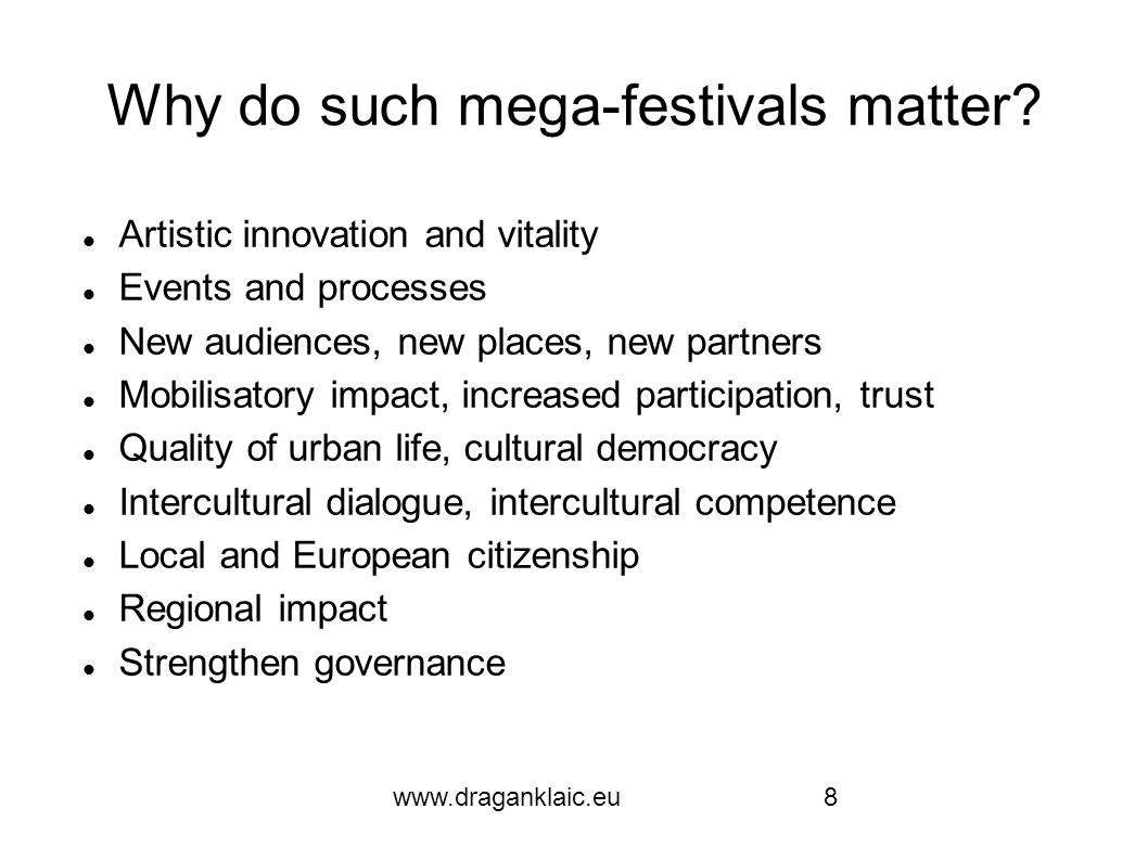 www.draganklaic.eu9 Lublin chances The flow of EU structural funds requires a viable developmental strategy Geopolitical position at the edge of the EU: border crossing cooperation, regional impact Academic resources to be upgraded Cultural heritage deployed in a contemporary framework Unique contemporary culture organizations reinforced through international partnership Boost of professional competences and institutional sophistication Place culture in the focus of the city future