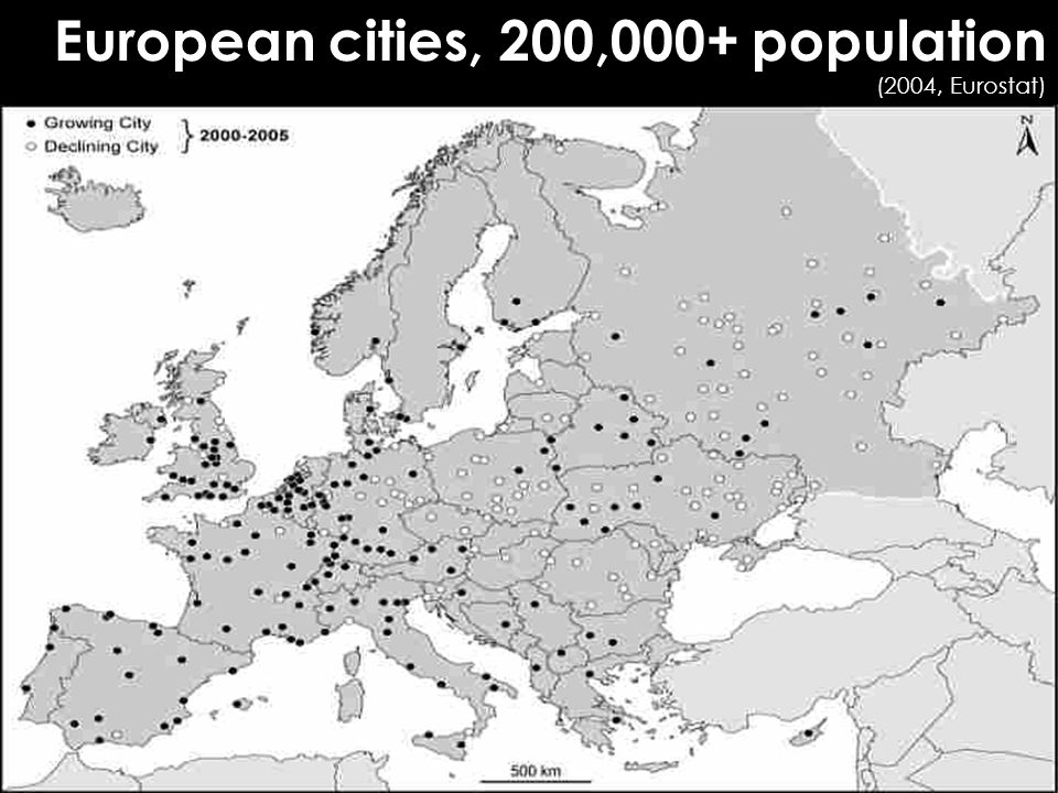European cities, 200,000+ population (2004, Eurostat) ‏