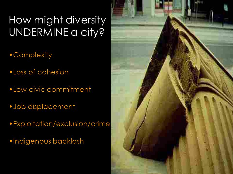 How might diversity UNDERMINE a city.