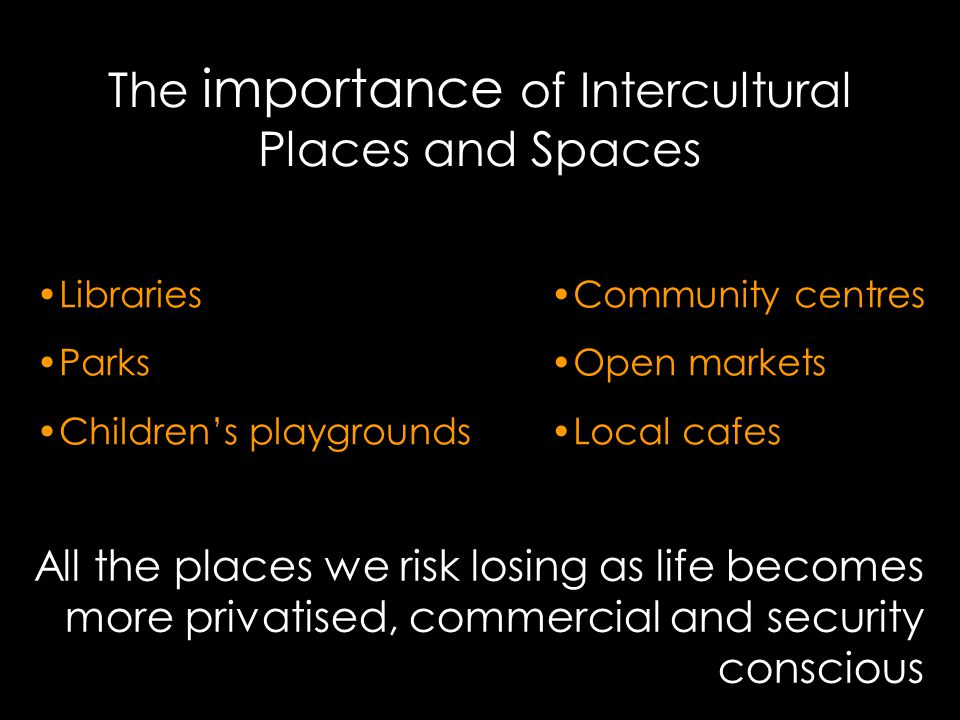 The importance of Intercultural Places and Spaces Libraries Parks Children's playgrounds Community centres Open markets Local cafes All the places we risk losing as life becomes more privatised, commercial and security conscious