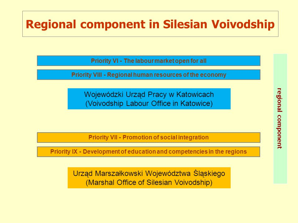 Priority VII - Promotion of social integration Priority VIII - Regional human resources of the economy Priority IX - Development of education and competencies in the regions Priority VI - The labour market open for all Regional component in Silesian Voivodship regional component Wojewódzki Urząd Pracy w Katowicach (Voivodship Labour Office in Katowice) Urząd Marszałkowski Województwa Śląskiego (Marshal Office of Silesian Voivodship)