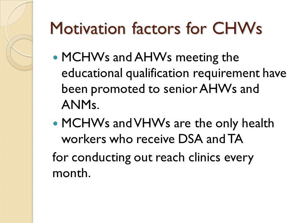 Motivation factors for CHWs MCHWs and AHWs meeting the educational qualification requirement have been promoted to senior AHWs and ANMs. MCHWs and VHW