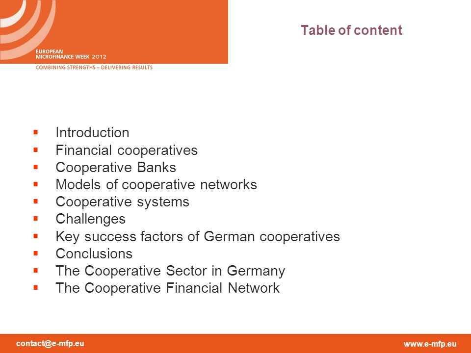 contact@e-mfp.eu www.e-mfp.eu A Multi-tier Cooperative Structure -Maintain the efficiency of the individual cooperative -Maintain the efficiency of the system -Economies of scale within the system -Being competitive -Offer all services needed -Support of the local coops in their role as local financial institutions Challenges III