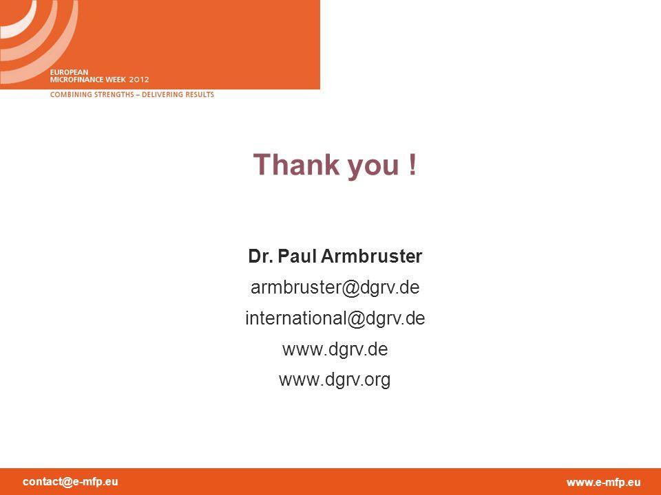 contact@e-mfp.eu www.e-mfp.eu Thank you ! Dr. Paul Armbruster armbruster@dgrv.de international@dgrv.de www.dgrv.de www.dgrv.org