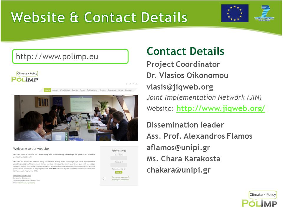 Contact Details Project Coordinator Dr.