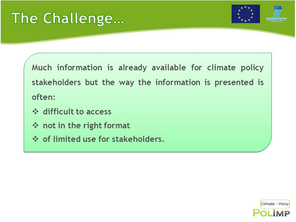 Acronym: POLIMP Title: Mobilizing and Transferring Knowledge on Post-2012 Climate Policy Implications EC funding: 1.0 Million€ Start date: 1 st of May 2013 Duration: 3 years Acronym: POLIMP Title: Mobilizing and Transferring Knowledge on Post-2012 Climate Policy Implications EC funding: 1.0 Million€ Start date: 1 st of May 2013 Duration: 3 years