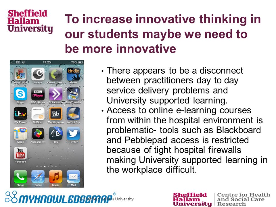 © Sheffield Hallam University There appears to be a disconnect between practitioners day to day service delivery problems and University supported learning.
