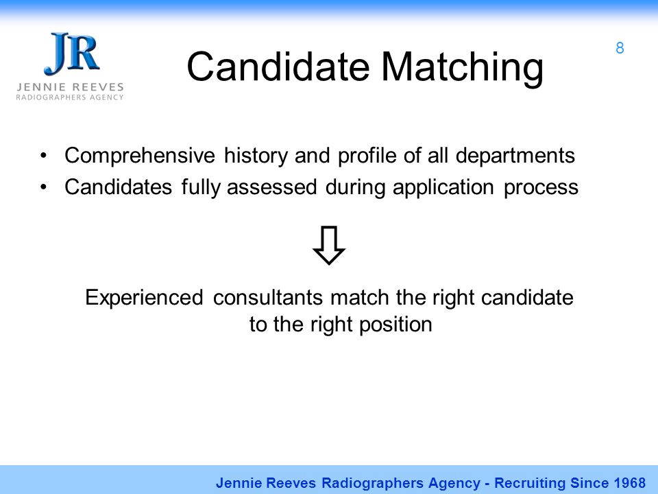 Candidate Matching Comprehensive history and profile of all departments Candidates fully assessed during application process  Experienced consultants