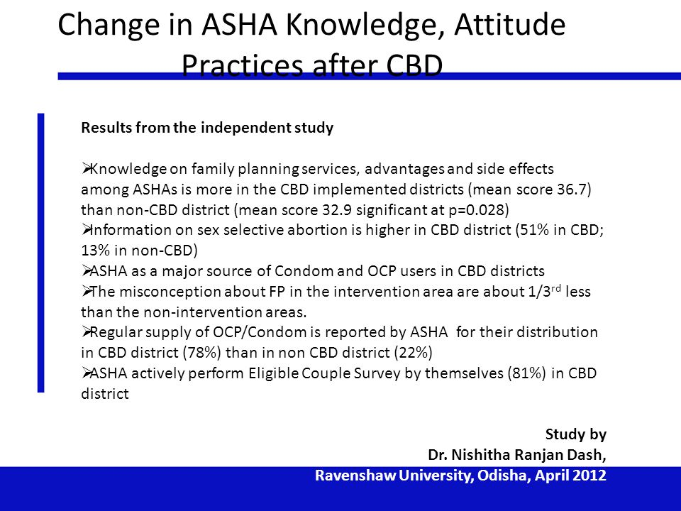 Change in ASHA Knowledge, Attitude Practices after CBD Results from the independent study  Knowledge on family planning services, advantages and side