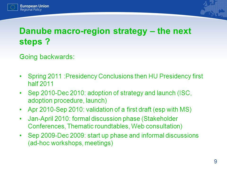 9 Danube macro-region strategy – the next steps .