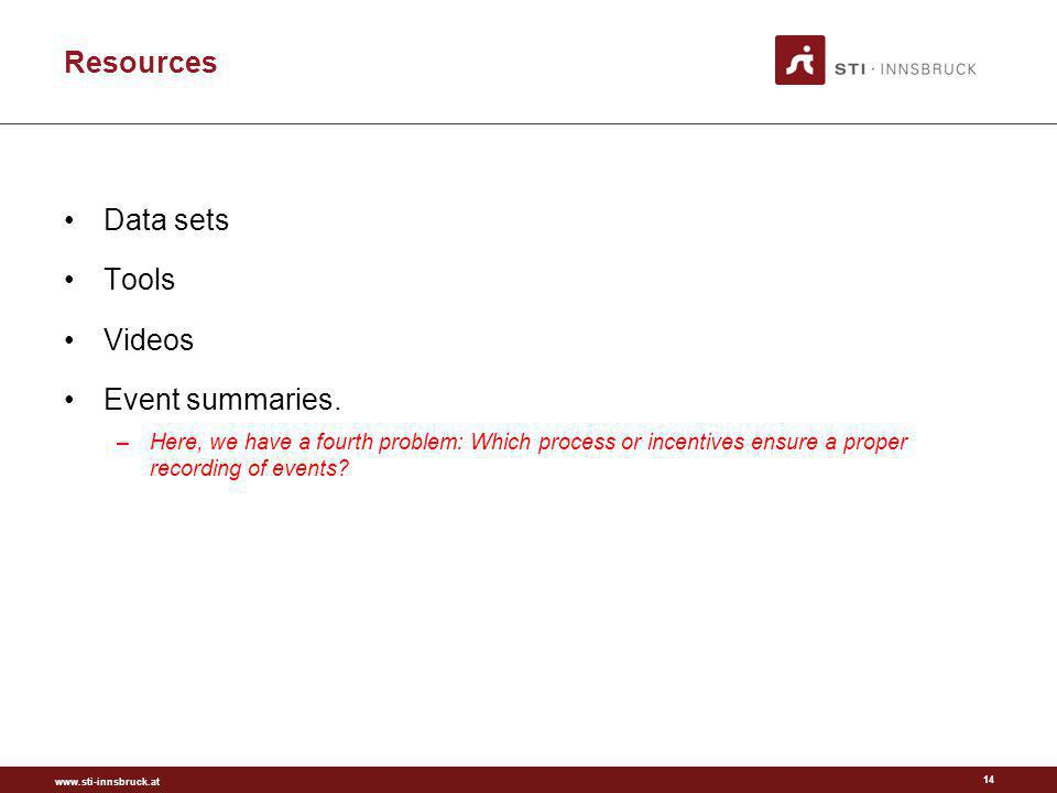 www.sti-innsbruck.at Resources 14 Data sets Tools Videos Event summaries. –Here, we have a fourth problem: Which process or incentives ensure a proper