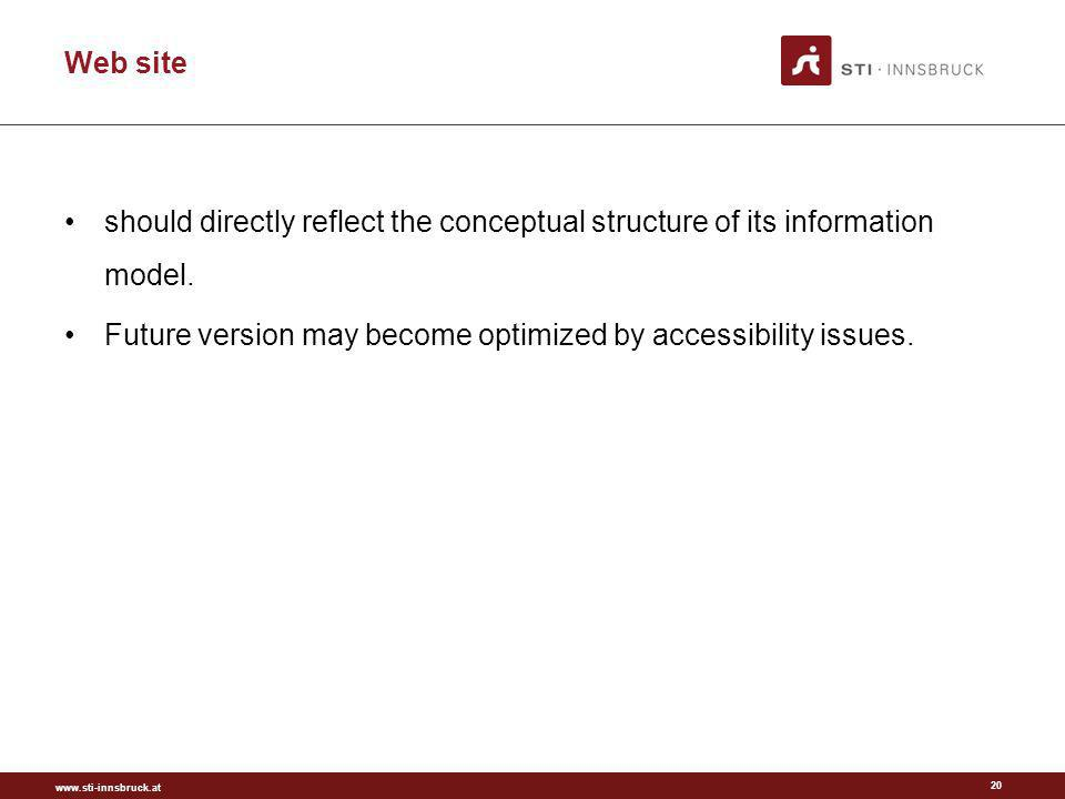 www.sti-innsbruck.at Web site 20 should directly reflect the conceptual structure of its information model.