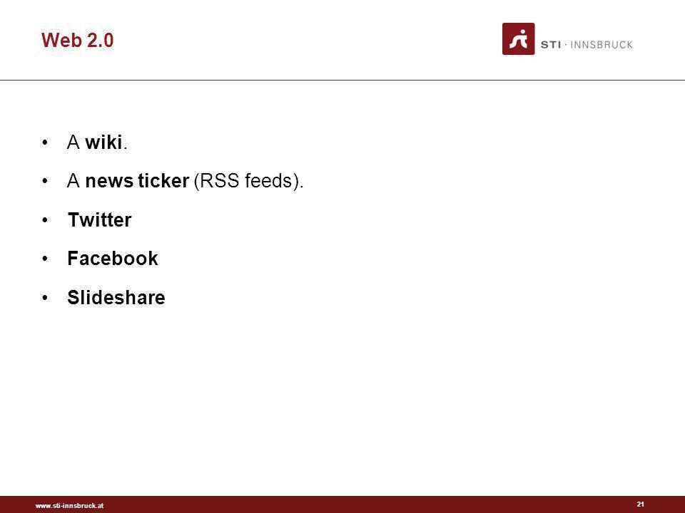 www.sti-innsbruck.at Web 2.0 21 A wiki. A news ticker (RSS feeds). Twitter Facebook Slideshare