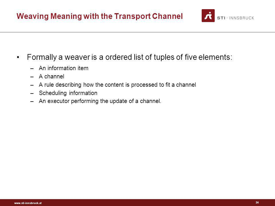www.sti-innsbruck.at Weaving Meaning with the Transport Channel 24 Formally a weaver is a ordered list of tuples of five elements: –An information ite