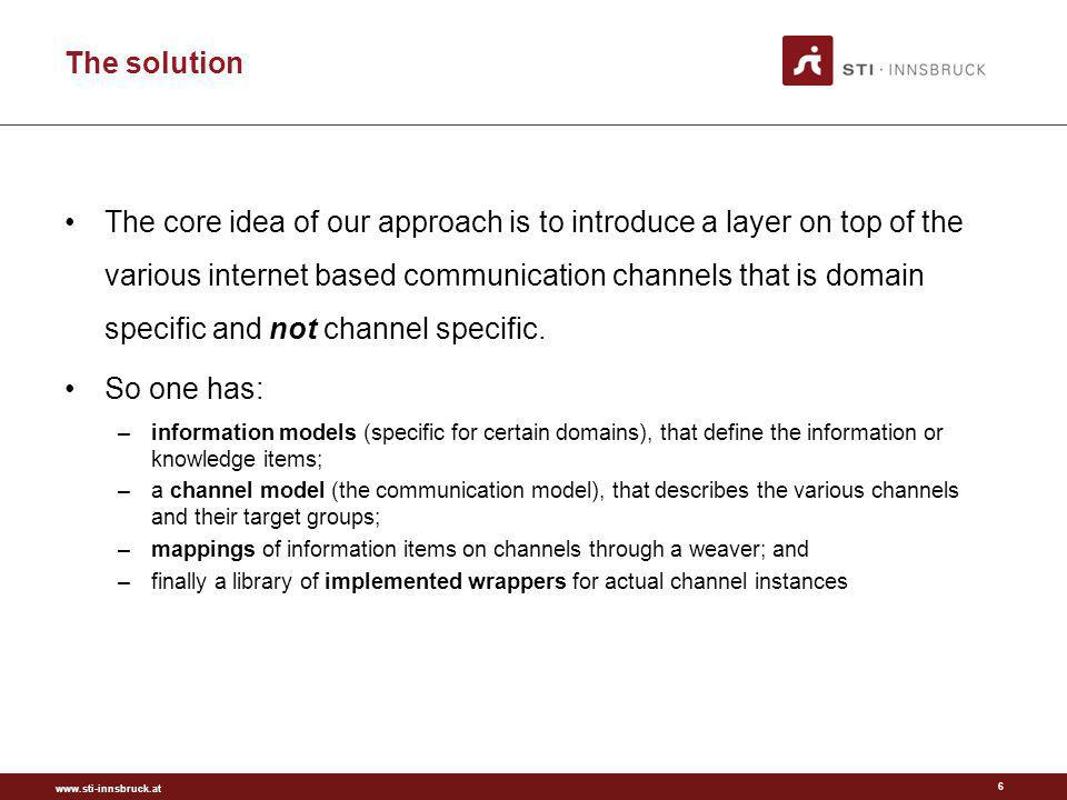 www.sti-innsbruck.at The solution 6 The core idea of our approach is to introduce a layer on top of the various internet based communication channels that is domain specific and not channel specific.