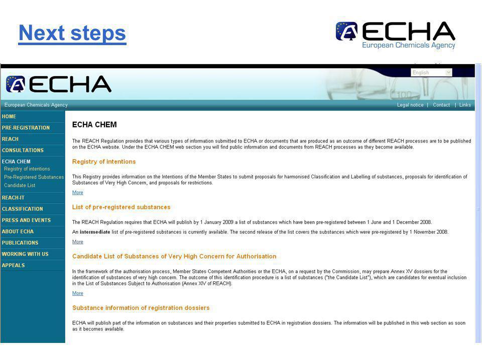 http://echa.europa.eu14 Next steps