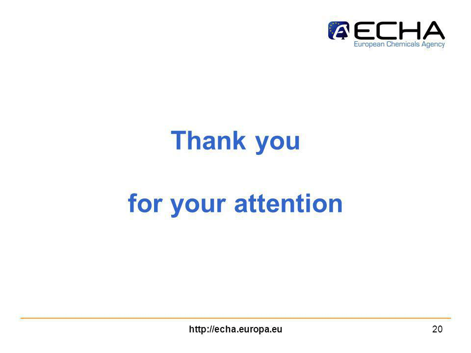 http://echa.europa.eu20 Thank you for your attention