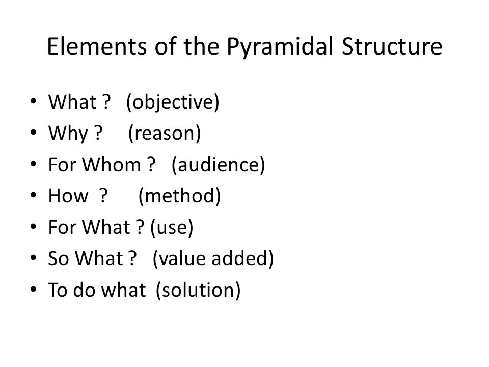 Pyramidal structure in Q & A Main Objective of Report Structure Of Report Question 1 Answer 1 Question 2Question 3Question 4 Answer 4Answer 3Answer 2 QQ QQ Q QQQ Q AAA AAA A AA Critical importance at the top Medium importance Least importance