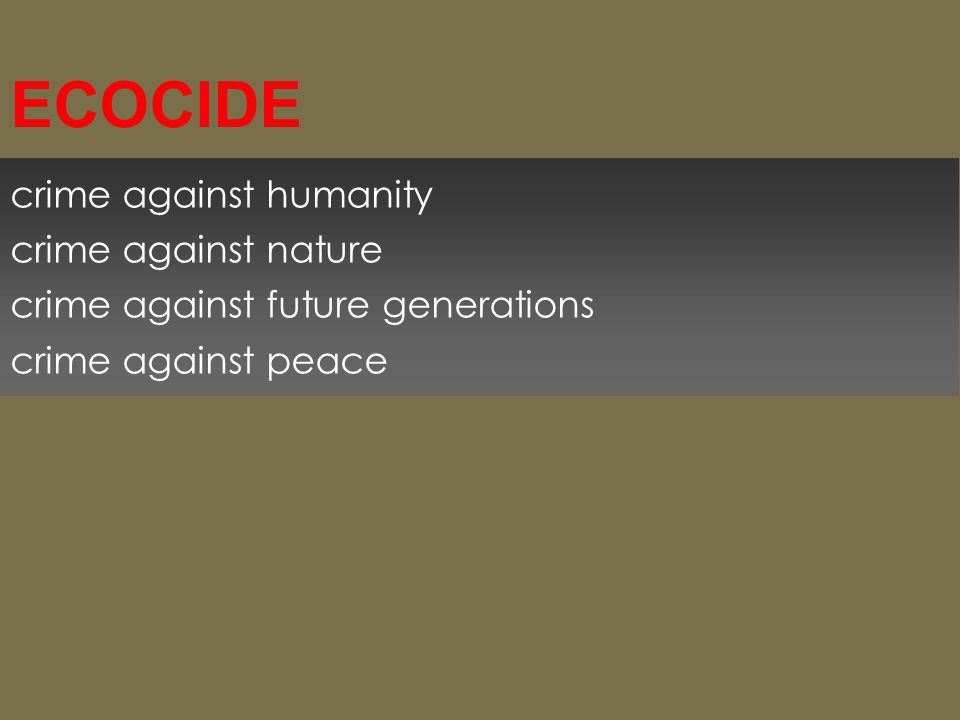 crime against humanity crime against nature crime against future generations crime against peace ECOCIDE