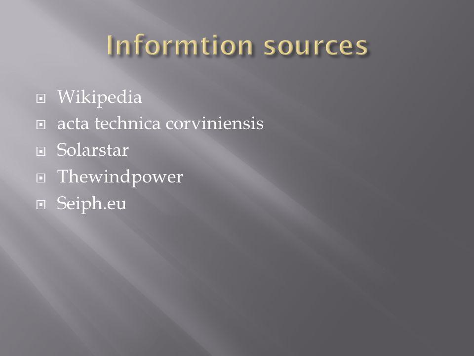  Wikipedia  acta technica corviniensis  Solarstar  Thewindpower  Seiph.eu