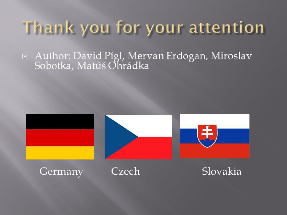  Author: David Pígl, Mervan Erdogan, Miroslav Sobotka, Matúš Ohrádka Germany Czech Slovakia
