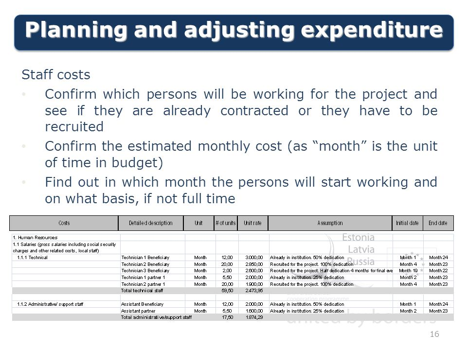 Planning and adjusting expenditure Staff costs Confirm which persons will be working for the project and see if they are already contracted or they have to be recruited Confirm the estimated monthly cost (as month is the unit of time in budget) Find out in which month the persons will start working and on what basis, if not full time 16