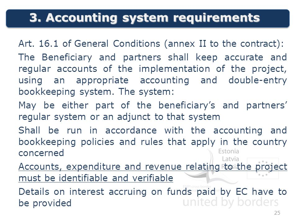 3. Accounting system requirements 25 Art.