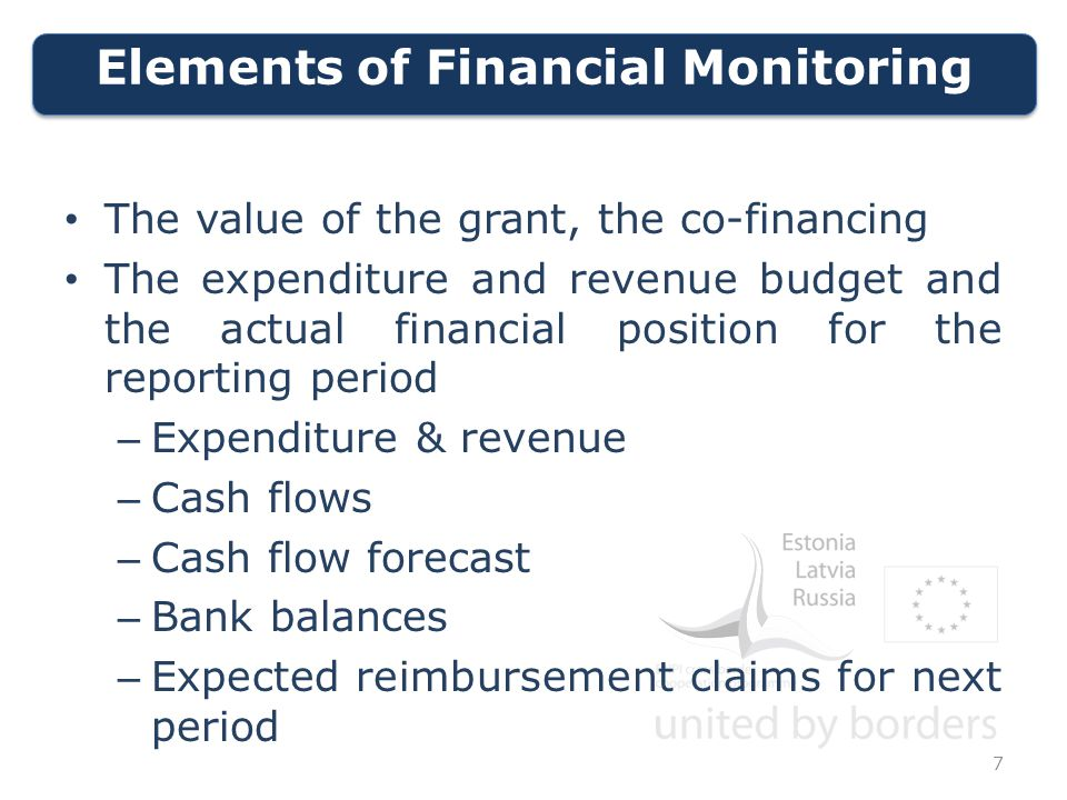 Elements of Financial Monitoring 7 The value of the grant, the co-financing The expenditure and revenue budget and the actual financial position for the reporting period – Expenditure & revenue – Cash flows – Cash flow forecast – Bank balances – Expected reimbursement claims for next period