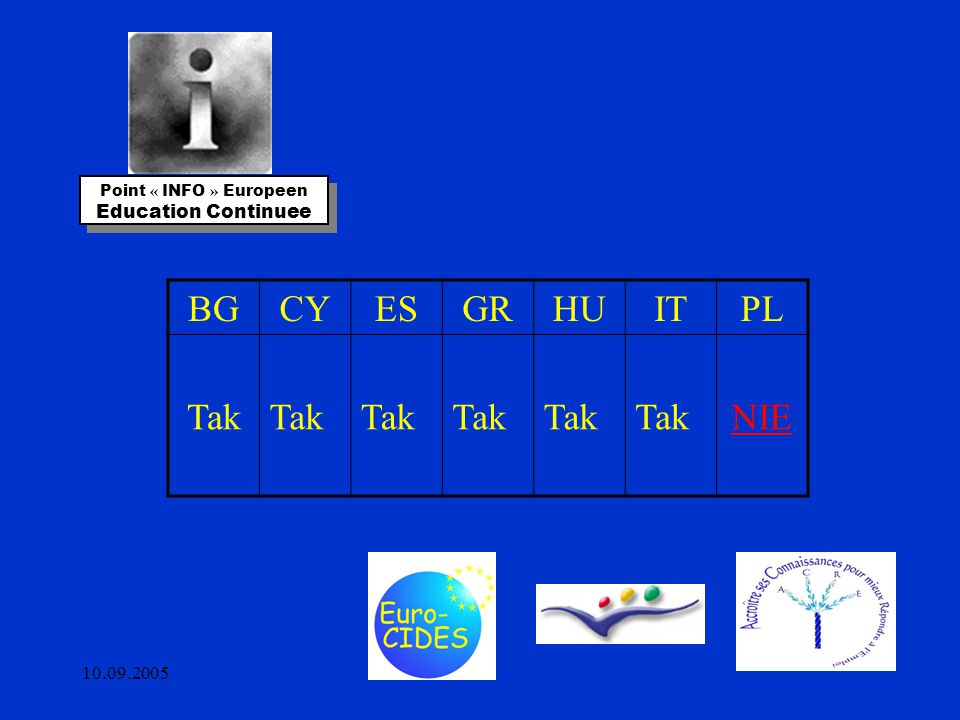 10.09.2005 Point « INFO » Europeen Education Continuee Point « INFO » Europeen Education Continuee BGCYESGRHUITPL Tak NIE