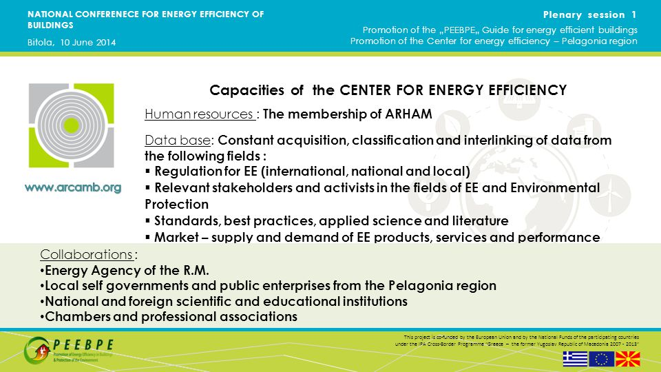 NATIONAL CONFERENECE FOR ENERGY EFFICIENCY OF BUILDINGS This project is co-funded by the European Union and by the National Funds of the participating