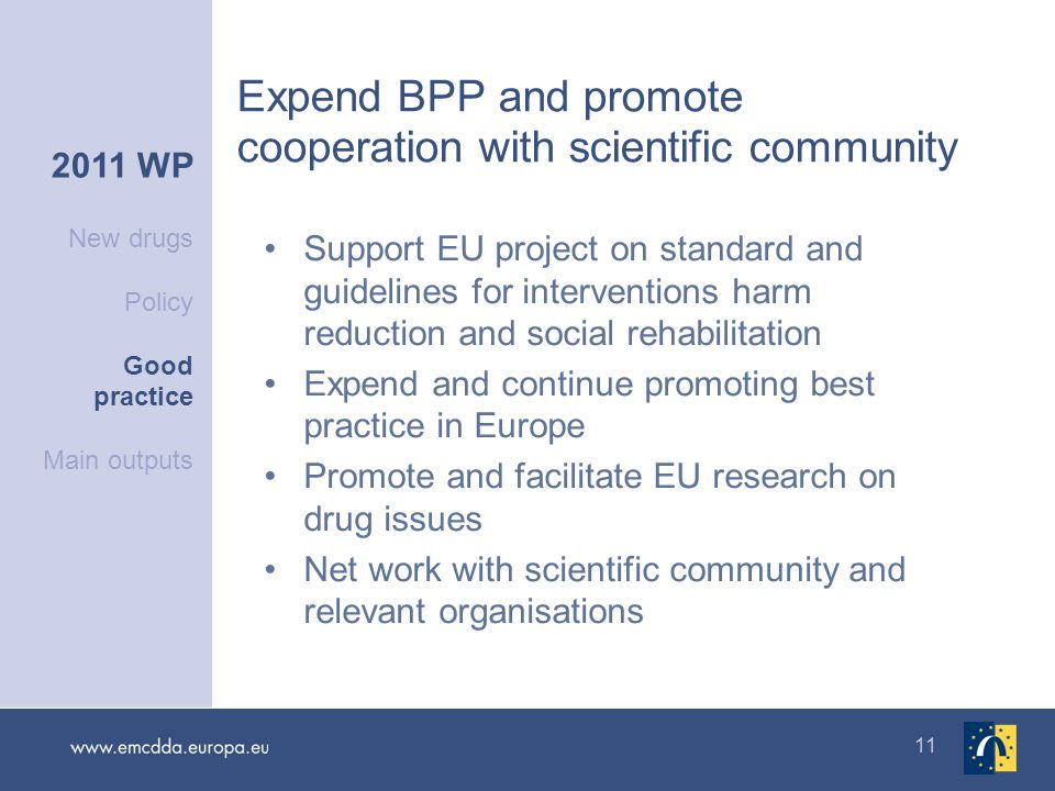 11 Expend BPP and promote cooperation with scientific community 2011 WP New drugs Policy Good practice Main outputs Support EU project on standard and guidelines for interventions harm reduction and social rehabilitation Expend and continue promoting best practice in Europe Promote and facilitate EU research on drug issues Net work with scientific community and relevant organisations