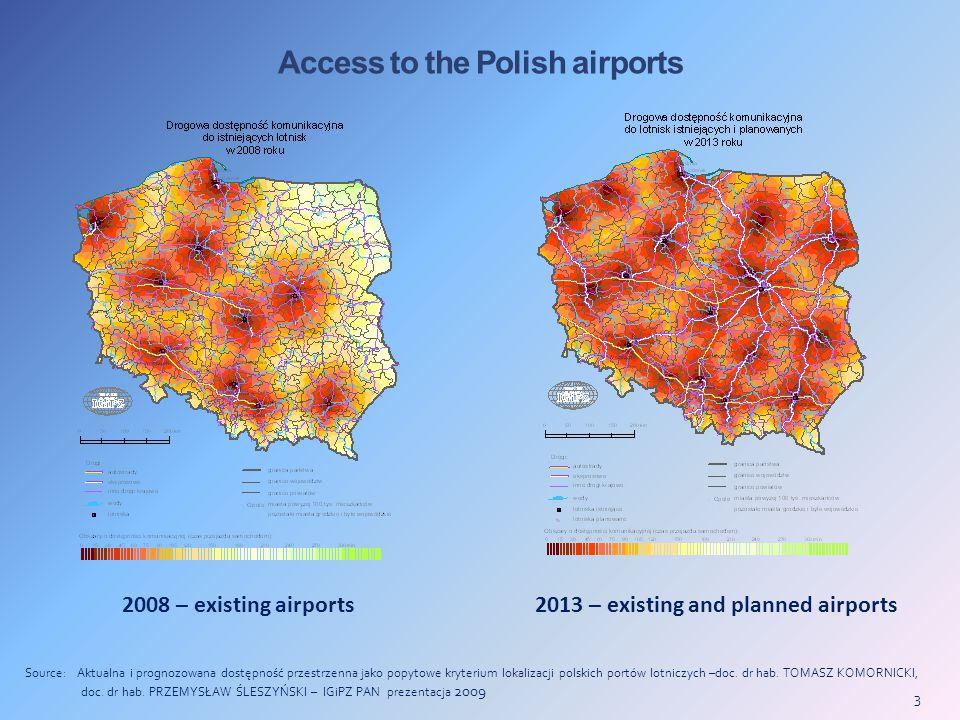 3 Access to the Polish airports Source: Aktualna i prognozowana dostępność przestrzenna jako popytowe kryterium lokalizacji polskich portów lotniczych –doc.