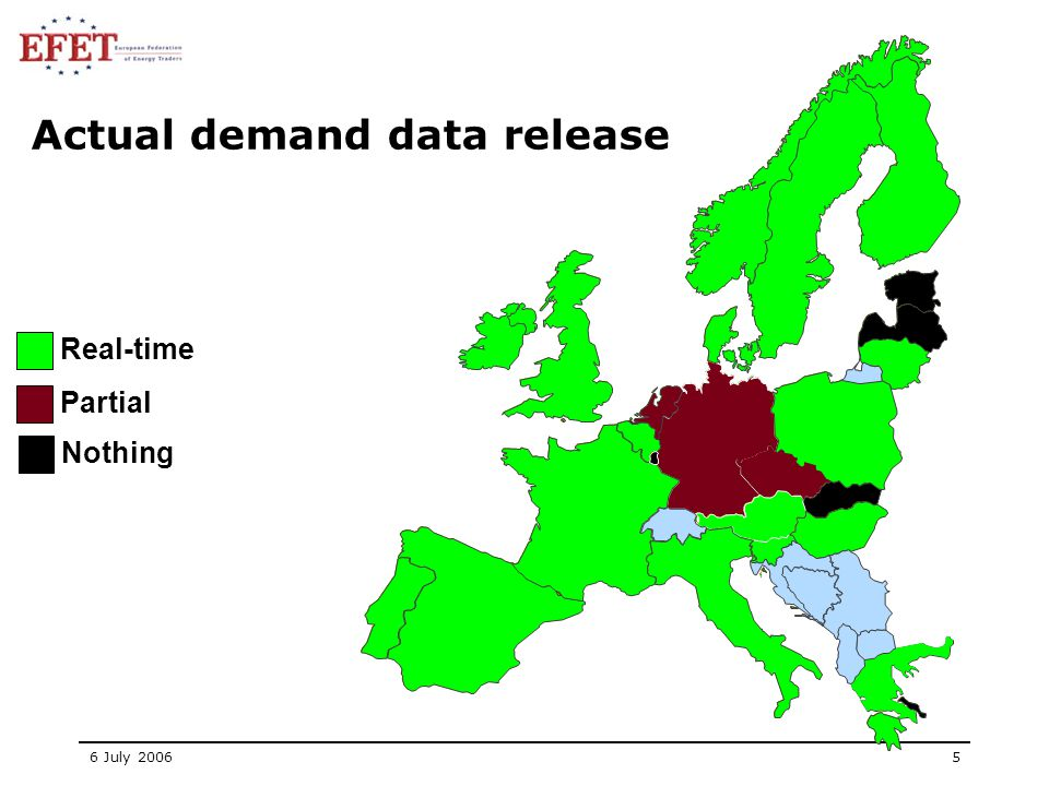 6 July 20065 Real-time Partial Nothing Actual demand data release